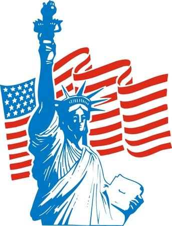 ville usa: statue de la libert� et de drapeau des etats unis comme fond national