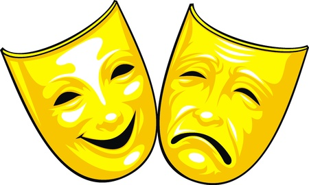 comedic: golden masks from theatre isolated on the white background Illustration