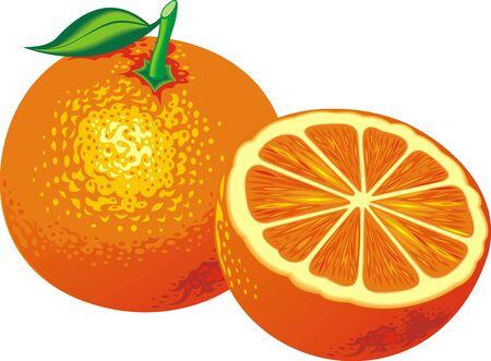 crop circle: fresh orange isolated on the white background