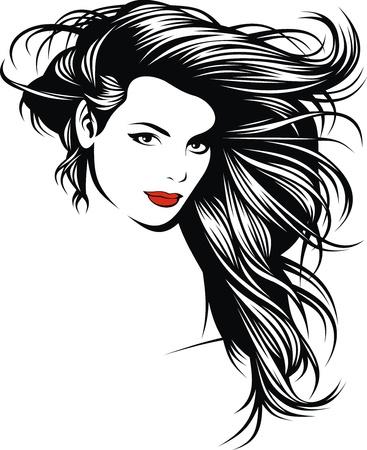 mujer estres: chica con bonitos pelos de mi fantas?a en blanco y negro