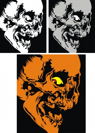 three human skulls on the black background Stock Vector - 18997784