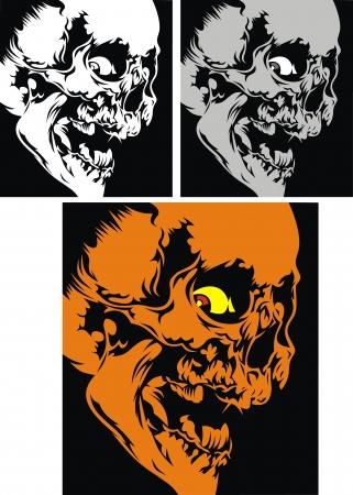 three human skulls on the black background Stock Vector - 18997784