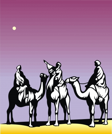 christmas scene with the three kings on camels crossing the desert Stock Vector - 18997934