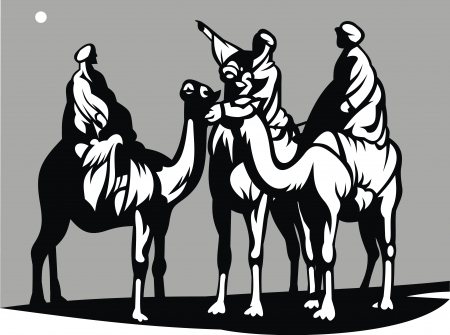 christmas scene with the three kings on camels crossing the desert
