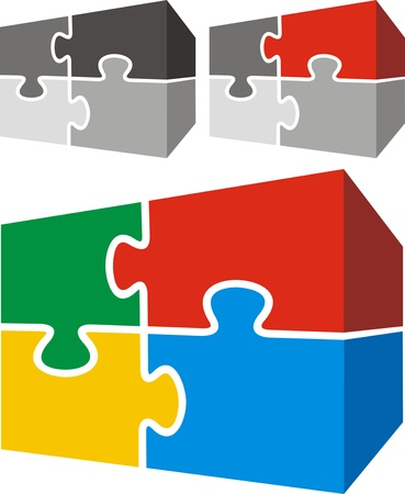 guidelines: puzzle in three versions isolated on white background