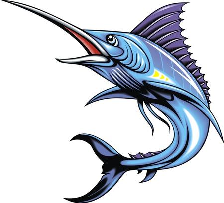 pez espada: ilustrada marlin pescados aislado en fondo blanco Vectores