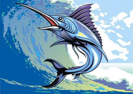pez espada: magníficamente ilustrada marlin pescados como fondo interesante Vectores