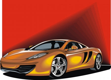 my original sport car design on the red background Vector