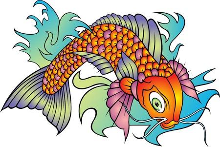 colored koi fish isolated on white background Çizim