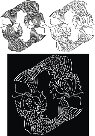illustrated koi fish in black and white version Vector