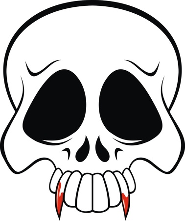 horrors vampire skull on the white background  Vector