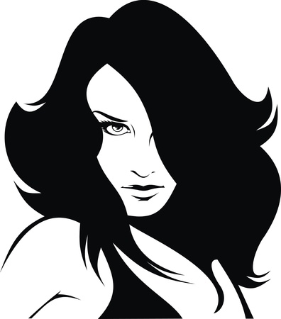 nice woman head isolated on white background Vector