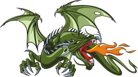 dragones: bonito drag�n chino aislado en el fondo blanco Vectores