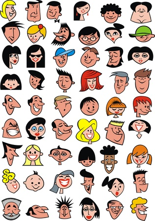 collection of people faces on the white background Vector