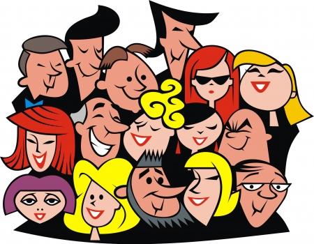 grupo de personas: conjunto de personas caras aisladas sobre fondo blanco Vectores
