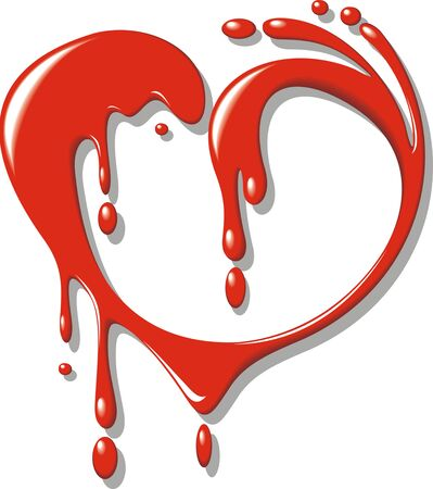 romantics: red blood  liquid  heart isolated on the white background Illustration