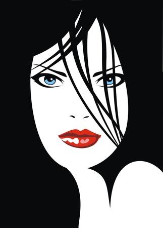eyebrow makeup: facile volto di ragazza con le labbra rosse come piacevole sfondo di moda Vettoriali