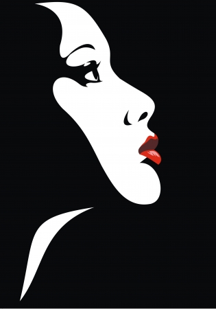 fashion make up: easy face of girl with red lips as nice fashion background Illustration