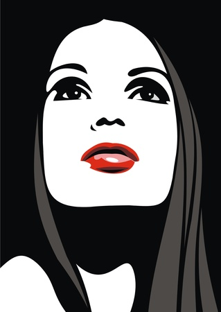 eyes looking up: easy face of girl with red lips as nice fashion background Illustration