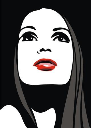 frau nach oben schauen: einfach Gesicht des M�dchens mit den roten Lippen so sch�n Mode-Hintergrund