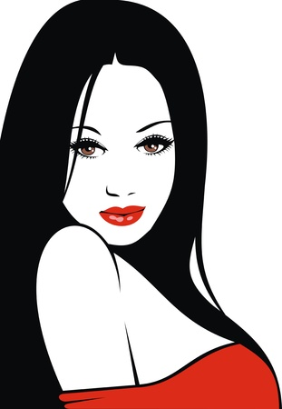 tempting: easy woman face with red lips and black hair as nice fashion background