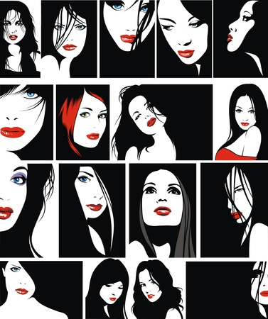 glamorous: easy faces of girls with red lips as nice fashion background Illustration