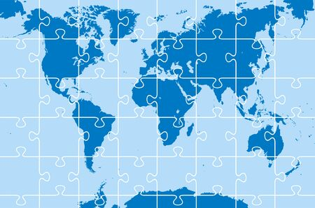 world map as puzzle on the blue background Vector