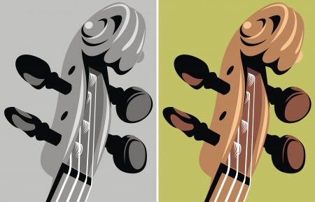 detail of violin in two versions as background Vector