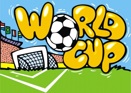 worldcup: funny colorful illustrated world cup as background Illustration