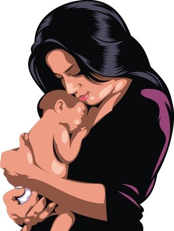 moeder met baby: gelukkige moeder met kleine baby op de witte achtergrond
