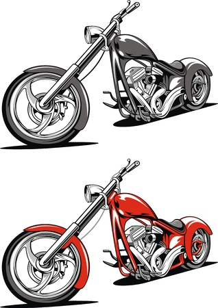 old red motorbike isolated on the white background
