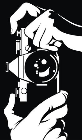 fotógrafo - cámara en sus manos está trabajando Ilustración de vector