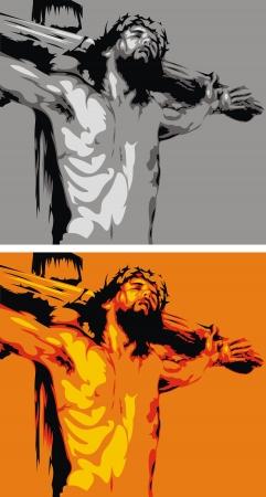 muerto de Jesús con el crucifijo - símbolo de la biblia Ilustración de vector
