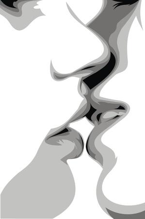 baiser amoureux: doux baiser dans le noir et blanc Illustration