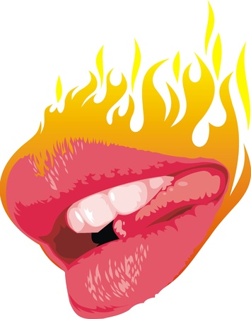 lipstick kiss: hot lips with the flames on the white background