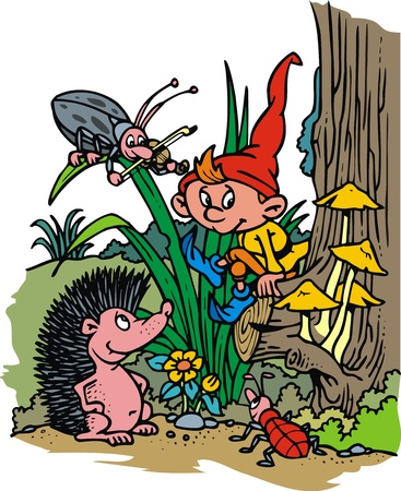 garden gnome: small dwarf  elf  in the czech forest  grass  Illustration