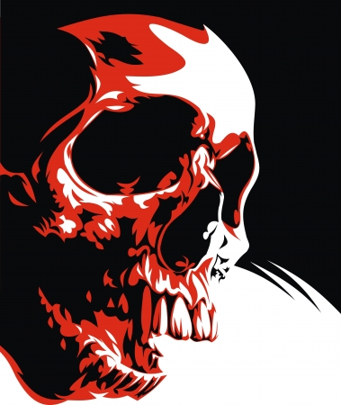 natural humen skull in the black red and white Vectores