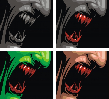 suck blood: detail of vampire in the different colors