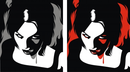 suck blood: detail of vampire woman in the different colors
