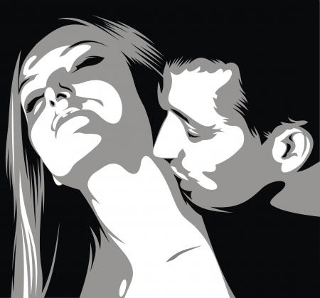 baiser amoureux: l'homme est kissinig femme sur son cou en noir et blanc Illustration
