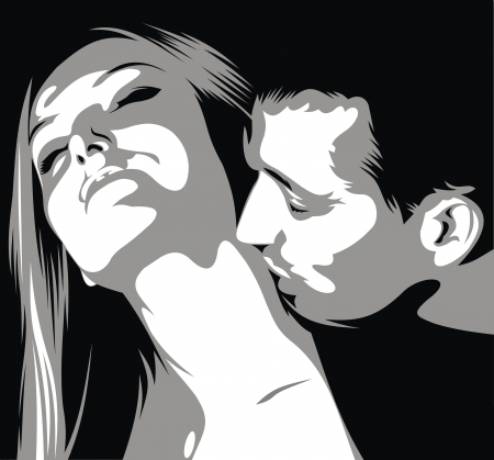 lipstick kiss: man is kissinig woman on her neck in the black and white