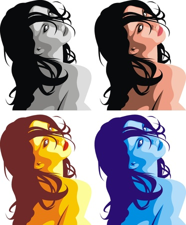 very nice girls faces on the color background Vector