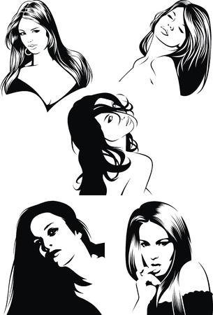 mujer estres: bonitas caras de las ni�as de mi fantas�a aislado en el fondo blanco Vectores