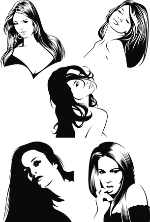 make up woman: nice faces of girls from my fantasy isolated on the white background Illustration