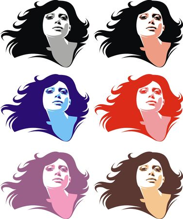 black hair blue eyes: girl face in the different colors isolated on the white background