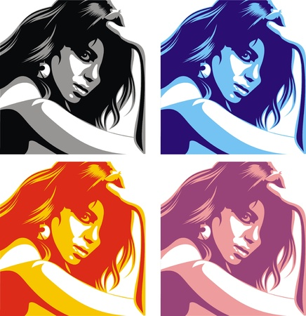 black hair blue eyes: nice girl face from my dream in the different colors