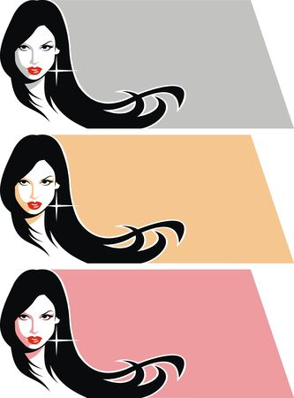 nice girl face from my dream in the deifferent colors  Vector