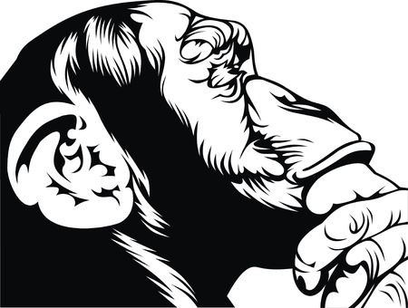 black and white smart monkey on the white background Vector