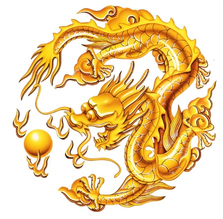 dragones: buen drag�n de oro sobre el fondo blanco