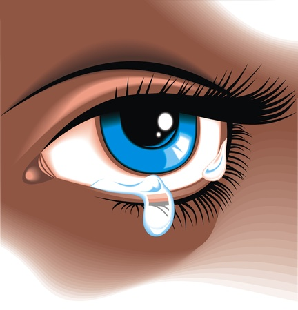shinning: blue eye with the clear water drop  Illustration